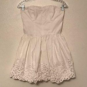 Hollister White Eyelet Strapless Dress